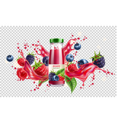 Forest berry mix juicy splash motion vector