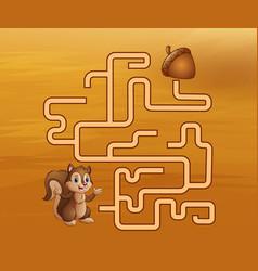 Game squirrel maze find their way to the walnut vector