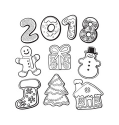 gingerbread cookies - christmas elements and 2018 vector image