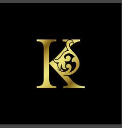 Gold luxury letter k ornament logo alphabet vector