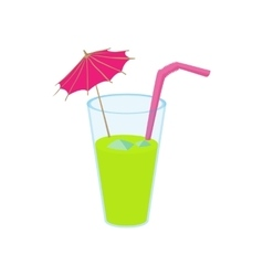 Green cocktail with umbrella icon vector image