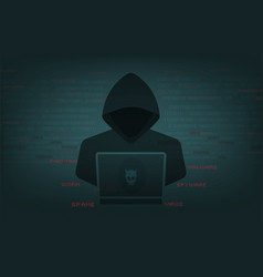 hacker at work with user interface vector image
