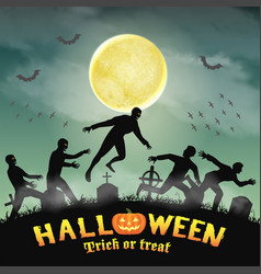 halloween human escape from zombie in graveyard vector image