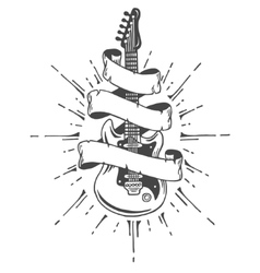 Hand drawn electric guitar with ribbon and text vector