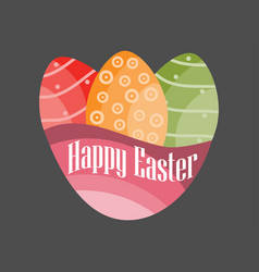 Happy easter easter eggs on a black background vector