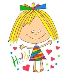 happy girl saying hello vector image