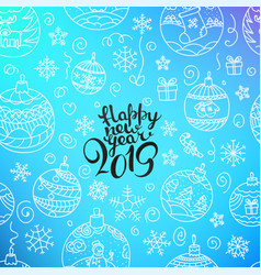 happy new 2019 year composition with doodles vector image