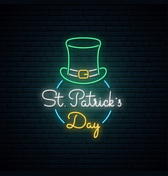 happy saint patricks day neon sign bright vector image