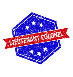 Hexagonal bicolor lieutenant colonel watermark vector