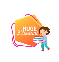Huge discount school sale banner clearance of vector
