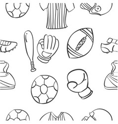 Ilustration sport equipment doodles vector