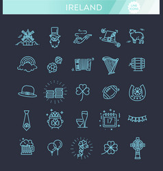 ireland icons tourism and attractions vector image