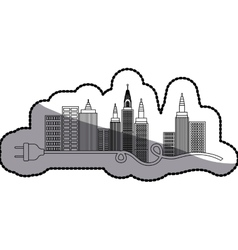 Isolated city buildings and plug design vector