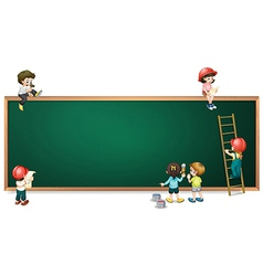 Kids around the empty greenboard vector image