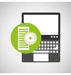 Laptop technology data server gear vector