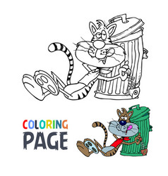 lazy cat cartoon coloring page vector image