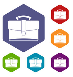 leather briefcase icons set hexagon vector image