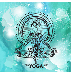 Man in lotus yoga pose on watercolor background vector