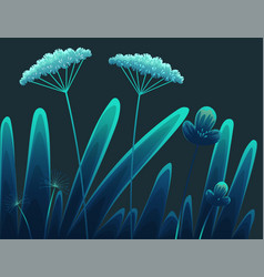 meadow plants forest grass at night vegetation vector image