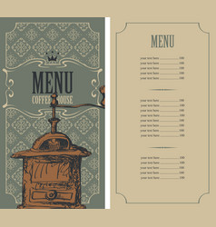 menu for a coffee house with retro coffee grinder vector image