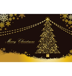 Merry Christmas gold tree shape vector image