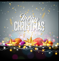 merry christmas with gold star glass vector image