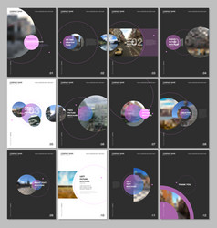 minimal brochure templates with circle elements on vector image