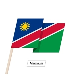 Namibia Ribbon Waving Flag Isolated on White vector