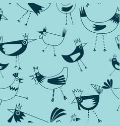one color seamless pattern ofchickens vector image