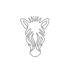 one continuous line drawing zebra head vector image
