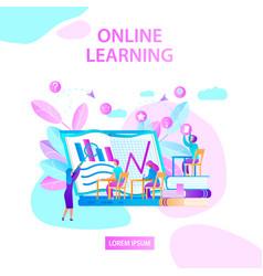 online learning square banner trainer explaining vector image