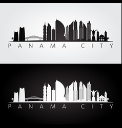 Panama city skyline and landmarks silhouette vector