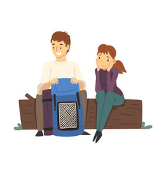 people with hiking backpacks sitting on log in the vector image