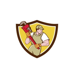 Plumber Holding Pipe Wrench Crest Cartoon vector