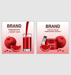Pomegranate juice seed banner set realistic style vector