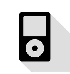 portable music device black icon with flat style vector image
