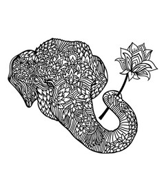 portrait of an elephant with a lotus flower in vector image