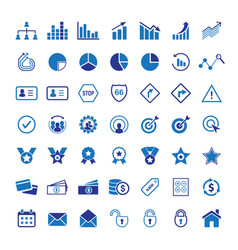 premium blue business flat icon set vector image