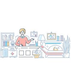 psychologist at work - modern line design style vector image