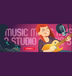 Recording studio cartoon web banner with singer vector