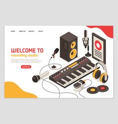 recording studio isometric poster vector image