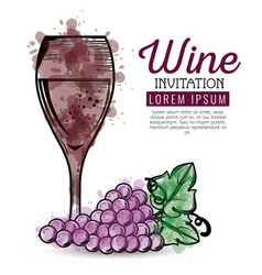 red wine cup and grapes vector image