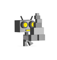 Robot computer job at office vector