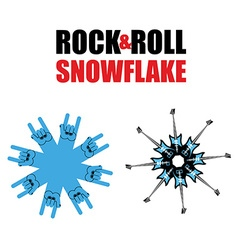 Rock and roll snowflakes Rock hand sign in form of vector image