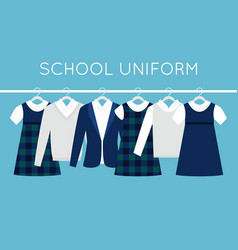 School or college uniforms on hangers in line vector