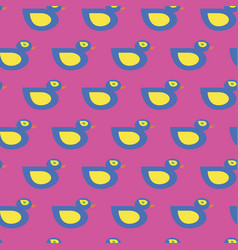 seamless blue duck pattern on pink vector image