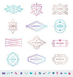 set colored hipster line emblems and signs vector image