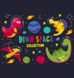 Set dinosaurs in space part 1 vector