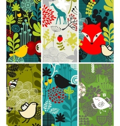 Set of vertical cards with birds and animals vector