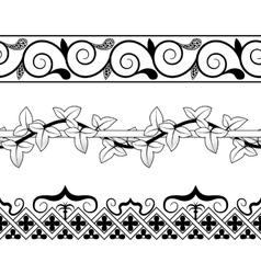 Set of vintage seamless borders Victorian and vector image